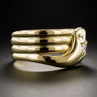 Vintage Unisex 18K Diamond Snake Ring - Size 9 1/4