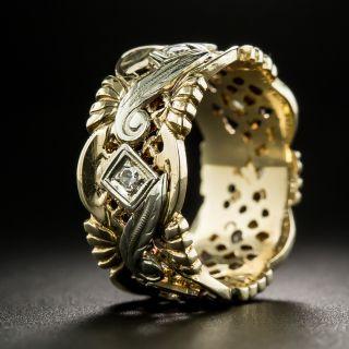 Vintage Wide Two-Tone Diamond Wedding Band - Size 5 1/4+
