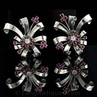 Retro Ruby Diamond Earrings