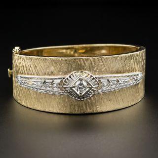Wide 14K /Platinum Diamond Bangle Bracelet - 2