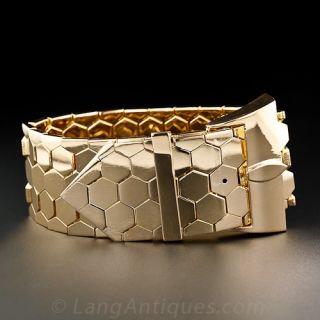 Wide 18k Retro Rose Gold Buckle Bracelet