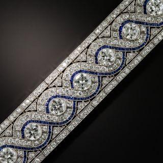 Wide Art Deco Platinum Diamond and Calibre Sapphire Bracelet - 1