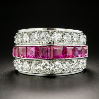 Wide Art Deco Ruby And Diamond Band Ring - 2