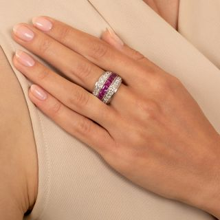 Wide Art Deco Ruby And Diamond Band Ring