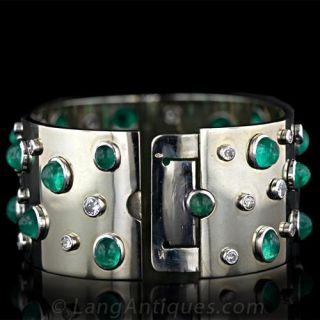 Wide Emerald and  Diamond Cuff Bracelet