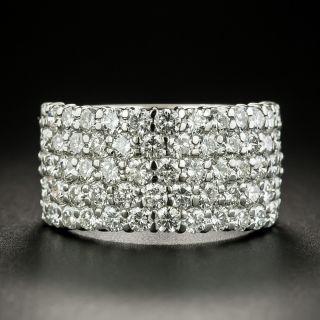 Wide Five-Row Diamond Band Ring - 2