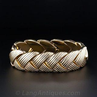 Wide Fluted Gold Bracelet - 1