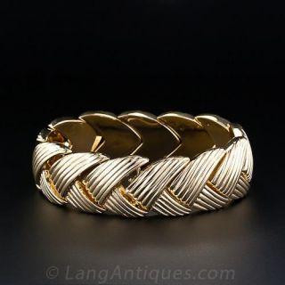 Wide Fluted Gold Bracelet