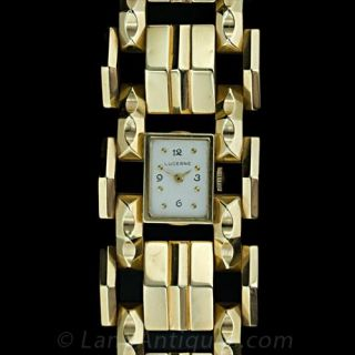 Wide Gold Retro Bracelet Watch Main View