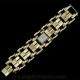 Wide Gold Retro Bracelet Watch