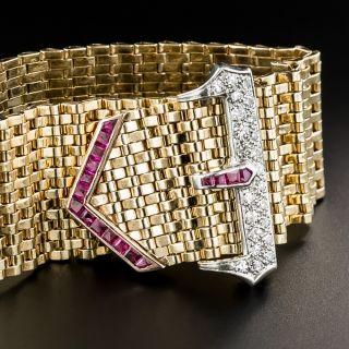 Wide Retro Diamond Calibre Ruby Buckle Bracelet - 2