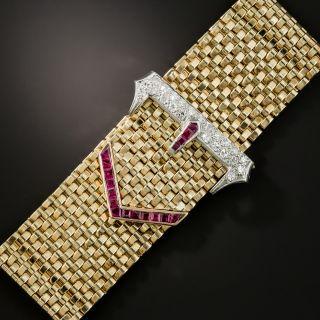 Wide Retro Diamond Calibre Ruby Buckle Bracelet