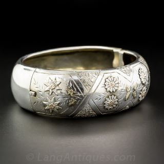 Wide Silver and Gold Bangle Bracelet