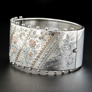 Wide Silver and Rose Gold Victorian Bangle Bracelet