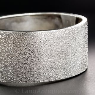 Wide Silver Bangle Bracelet