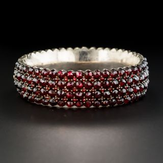 Wide Silver Bohemian Garnet Bangle Bracelet