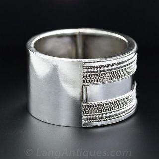 Wide Silver Victorian Bangle Bracelet
