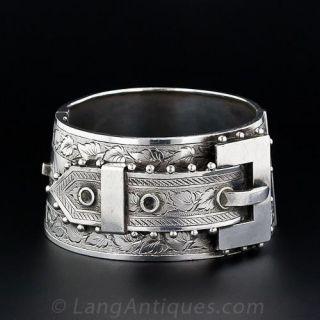 Wide Sterling Silver Belt Motif Cuff Bracelet - 1