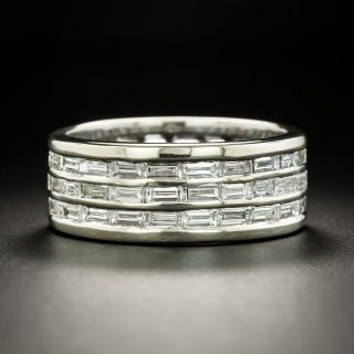 Wide Three-Row Baguette Diamond Eternity Band - Size 11 1/4. - 2