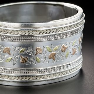 Wide Victorian Silver & Gold Bangle