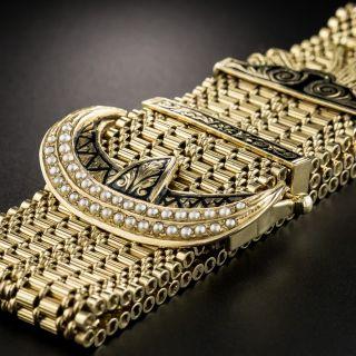 Wide Victorian Style Gold Buckle Tassel Bracelet