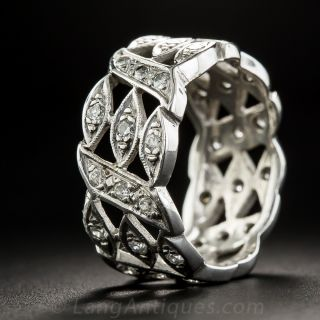 Wide Vintage Diamond Wedding Band - Size 7 1/4