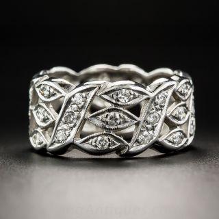 Wide Vintage Diamond Wedding Band - Size 7 1/4 - 3