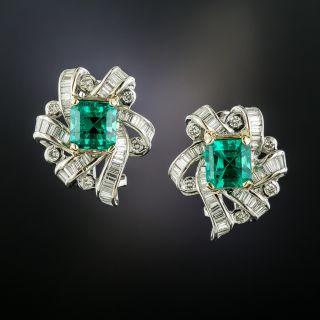 with Yekutiel Estate 3.89 Carat Emerald and Diamond Earrings - AGL 'Minor Enhancement' - 2