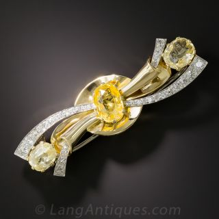 Yellow Sapphire Diamond Barrette - 1