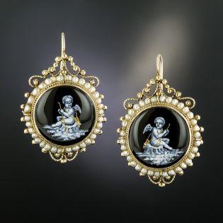 Victorian Grisaille Enamel Cherub Pearl Earrings - 2