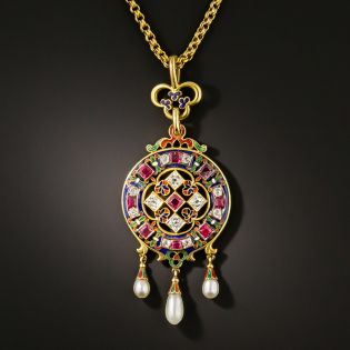 Victorian Holbeinesque Enamel, Diamond, Ruby and Pearl Pendant - 1