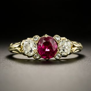 Victorian No-Heat Burmese Ruby and Diamond Three-Stone Ring - 1