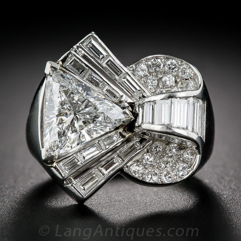 2.10 Carat Center Deco/Retro Diamond and Platinum Cocktail Ring