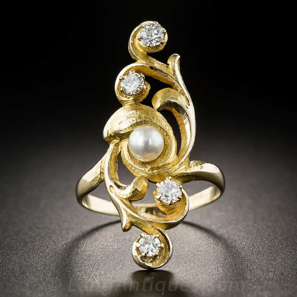 Art Nouveau Diamond and Pearl Dinner Ring