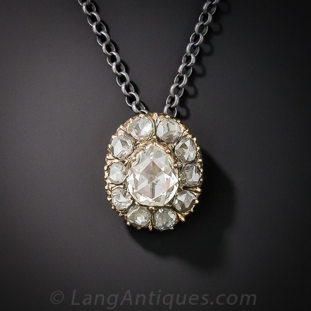 Pear Shape Rose-Cut Diamond Drop