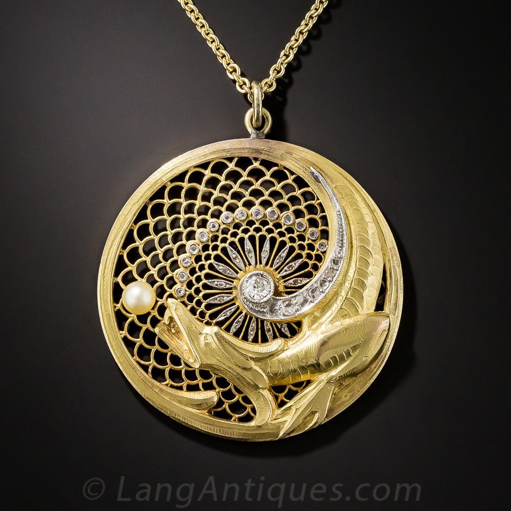 18k Art Nouveau Dragon Pendant