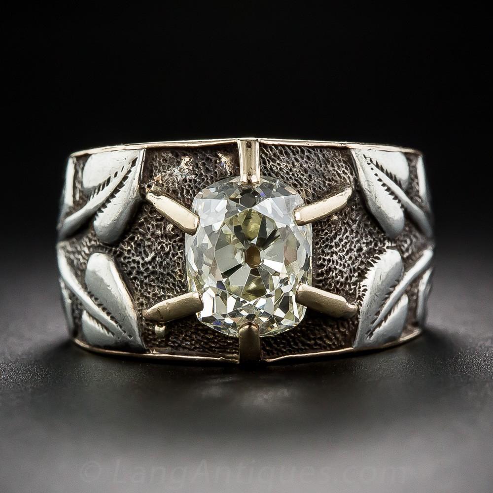 2.50 Carat Antique Cushion-Cut Diamond Art Nouveau Ring