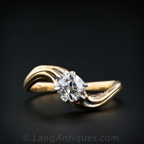 .60 Carat Antique Cushion-Cut Diamond Art Nouveau Engagement Ring