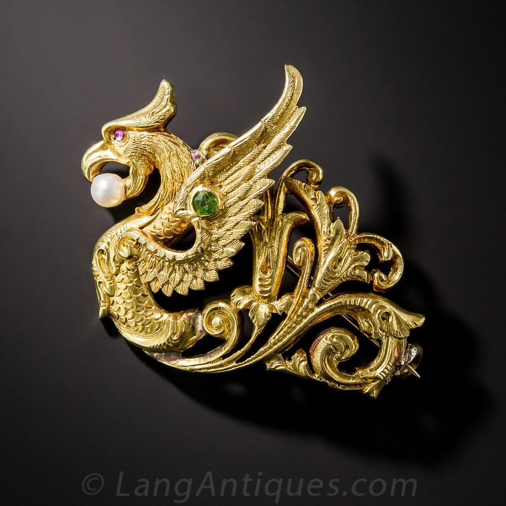 Art Nouveau Griffin Pin