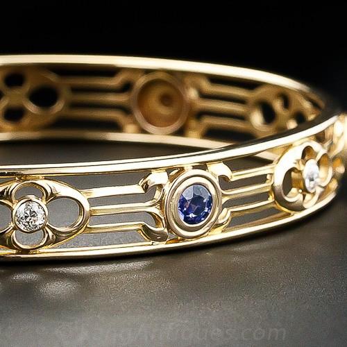 Arts & Crafts Sapphire and Diamond Bangle