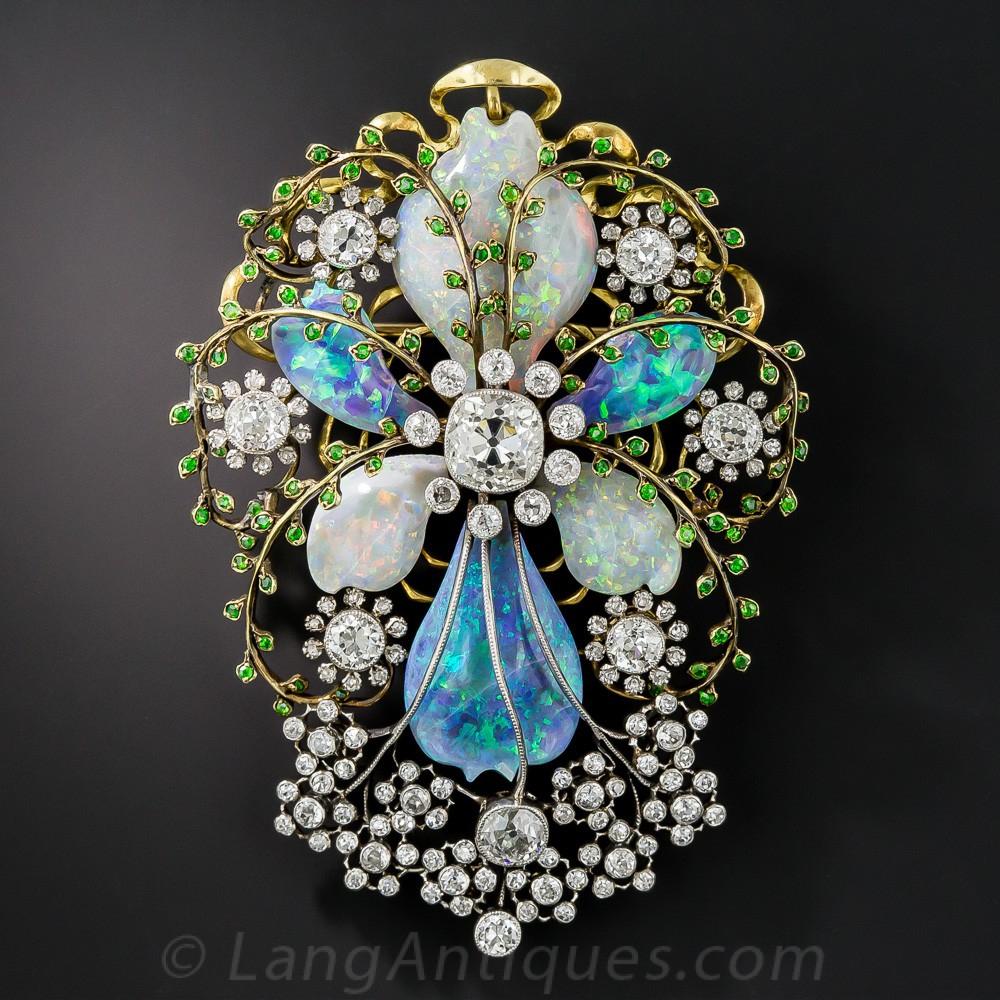 Fabulous French Art Nouveau Opal and Diamond Brooch