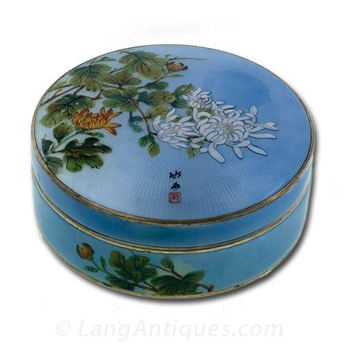 Japonesque Sterling Guilloche Powder Box