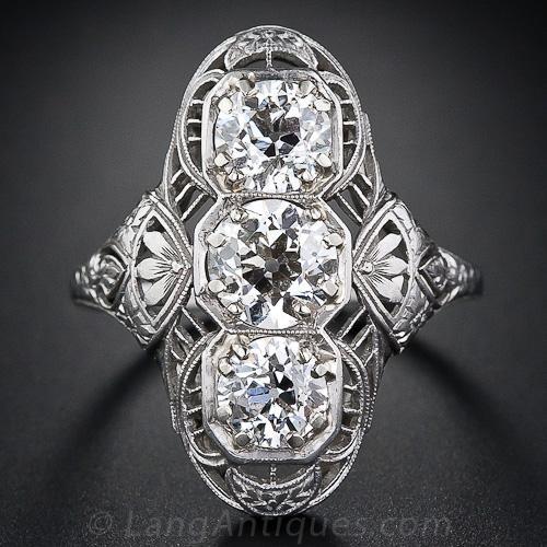 Edwardian Three-Stone Dinner Ring