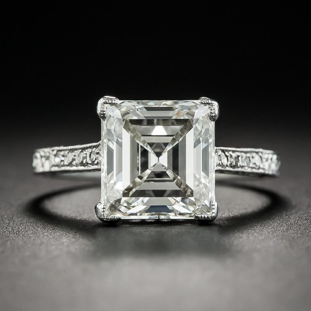 3.46 Carat Edwardian Carré (Square-Cut) Diamond Ring