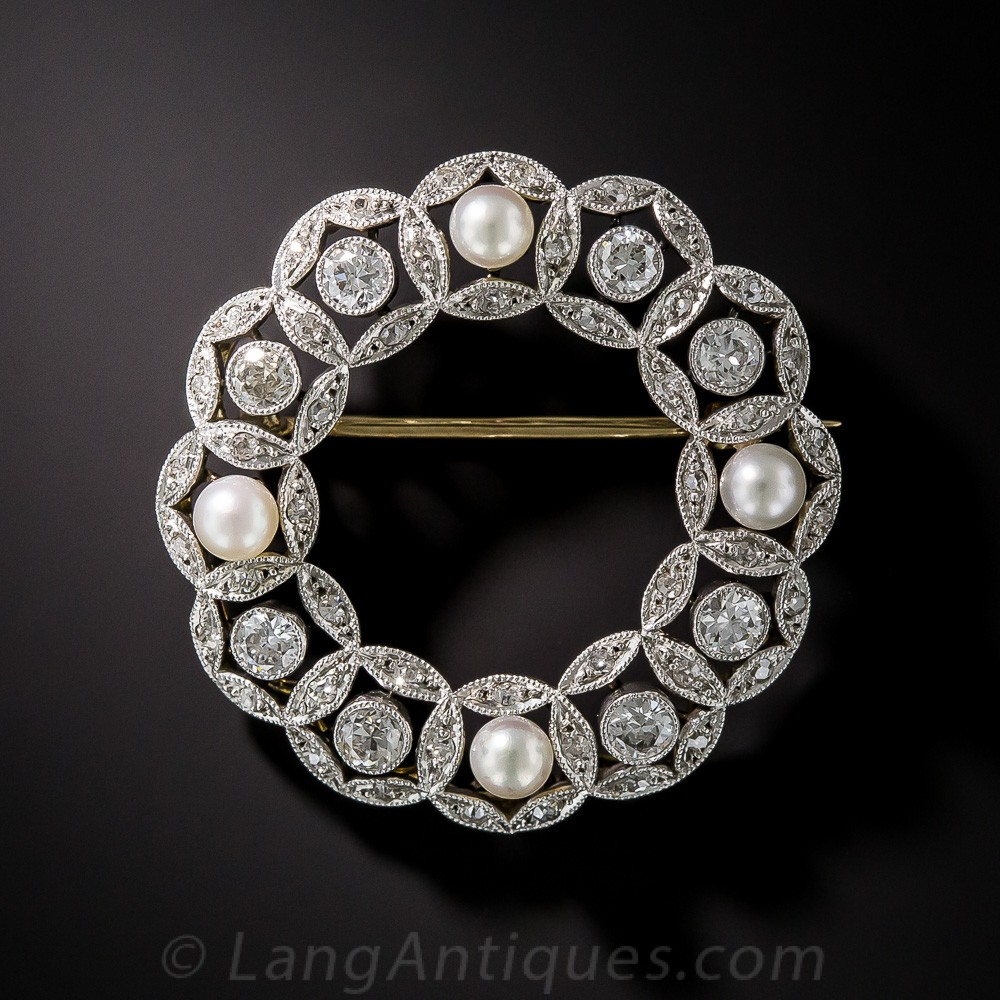 Edwardian Diamond and Natural Pearl Wreath Brooch
