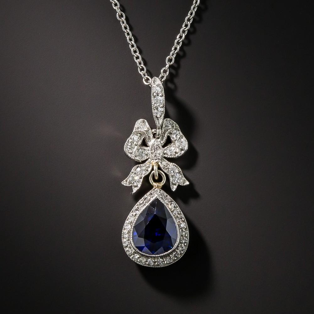 Edwardian Sapphire and Diamond Drop Pendant
