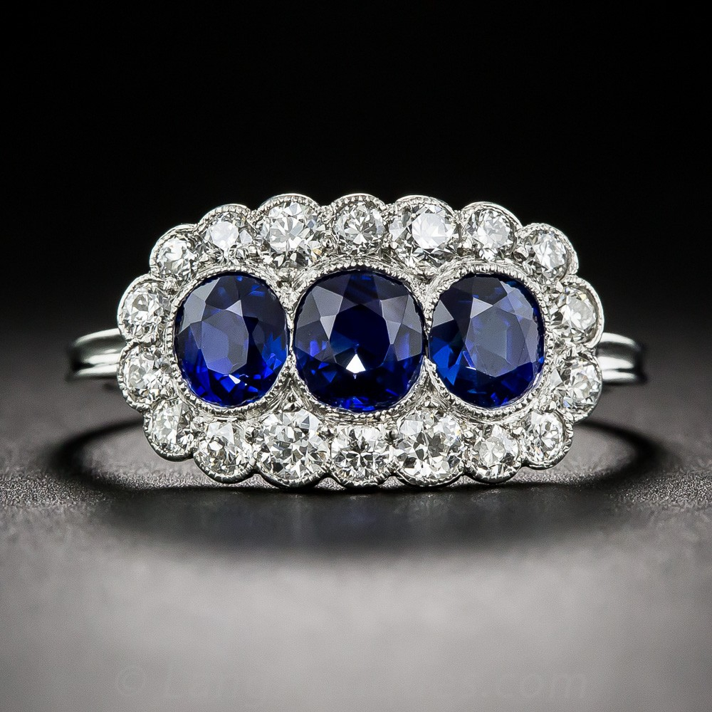 Edwardian Triple Natural Sapphire and Diamond Ring