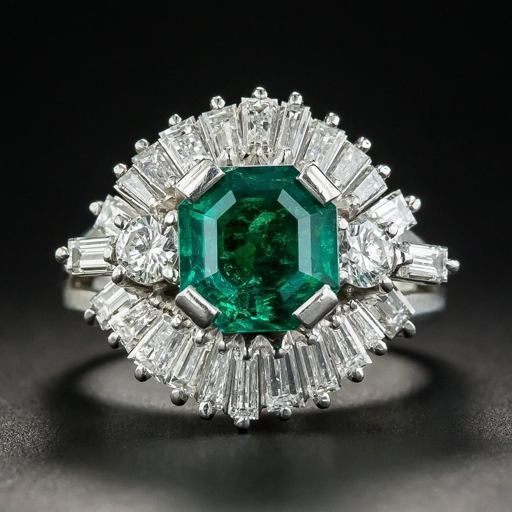 1.68 Carat Emerald Diamond Platinum Ring