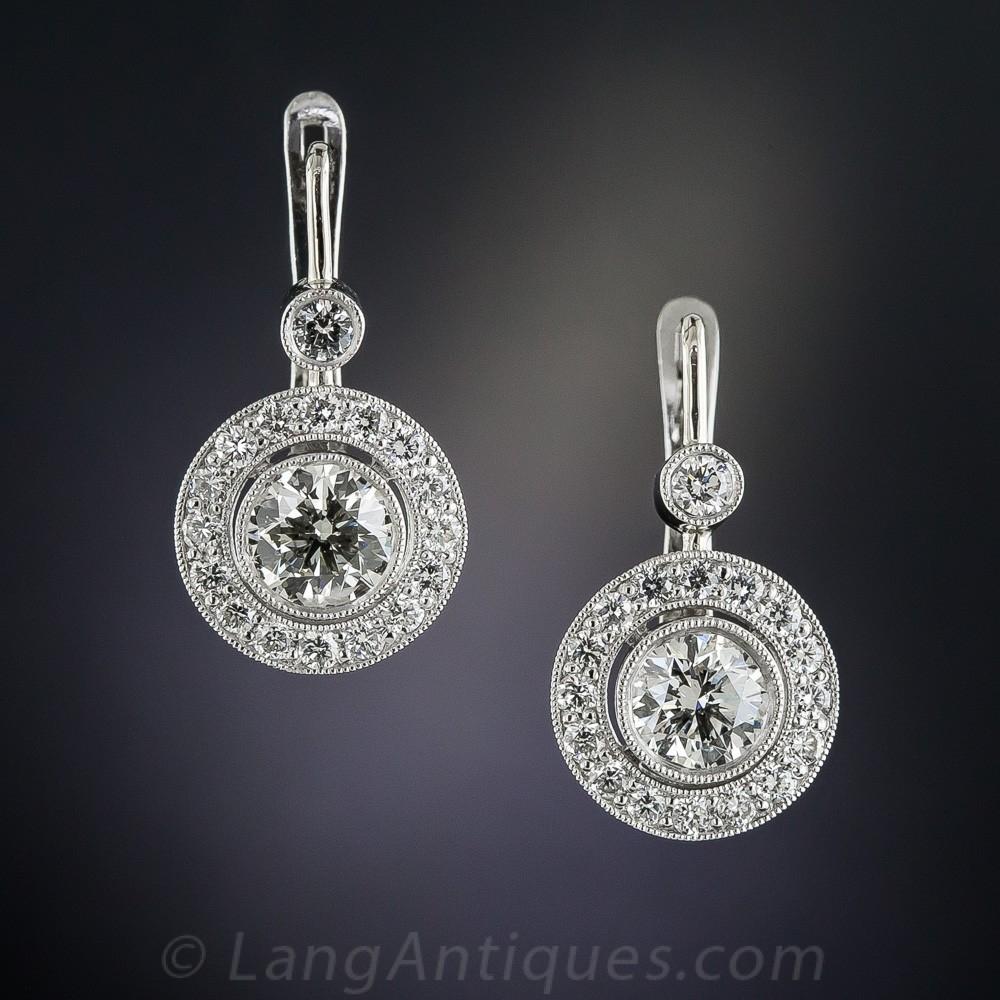 2.00 Carat Diamond and Platinum Halo Drop Earrings