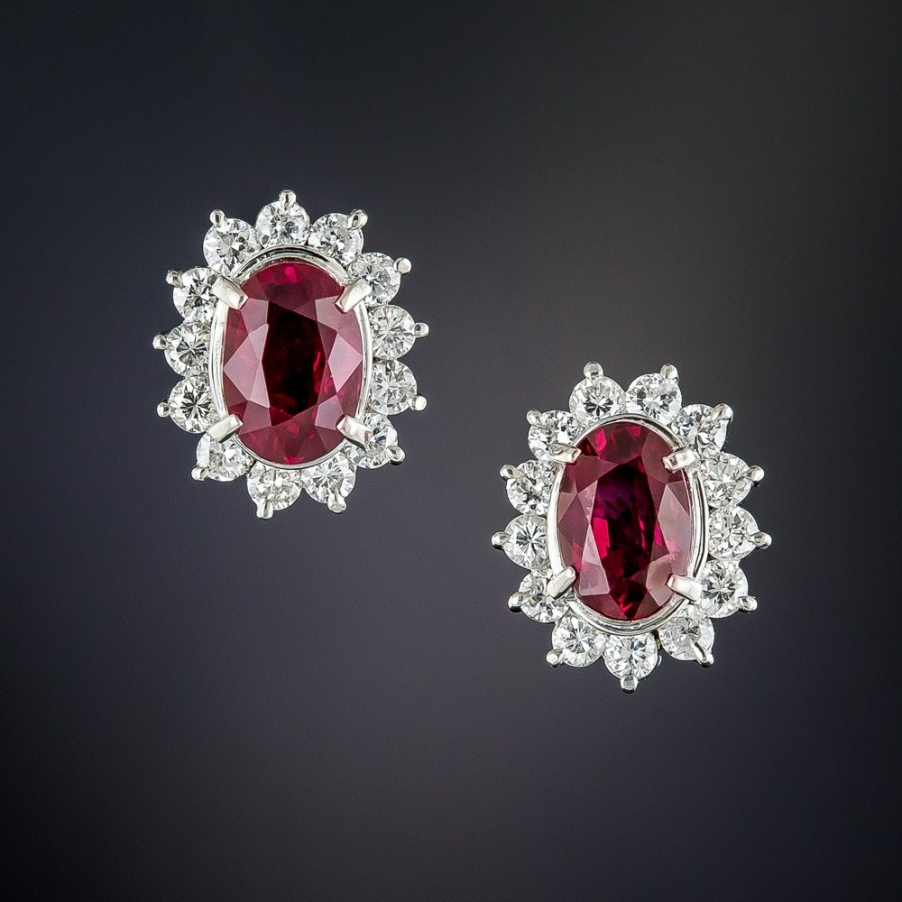 Natural No-Heat Ruby, Diamond, and Platinum Earrings